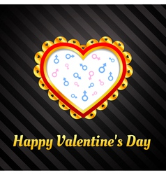Ornamental heart on background of male and female vector