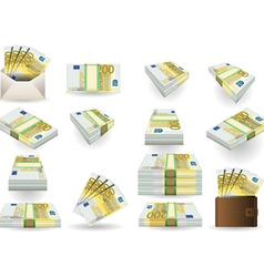 Full set of two hundred euros banknotes vector
