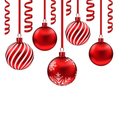 Set red glass balls with serpentine for merry vector