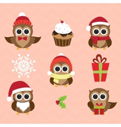 Christmas and new years owls in funny costumes vector