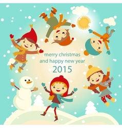 Happy kids playing with snow retro christmas card vector