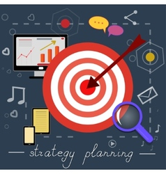 Strategy planning icons with bright pictures vector