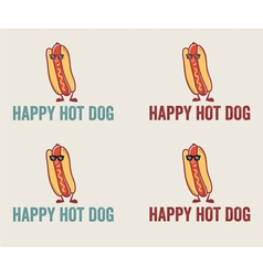 Hot dog cartoon character wearing sunglasses vector