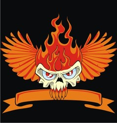 Fire skull and wing vector