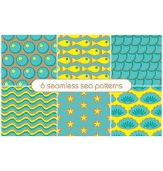 6 different seamless sea patterns tiling vector