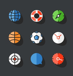 Different round web icons collection vector