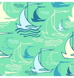 Seamless pattern with decorative ships vector