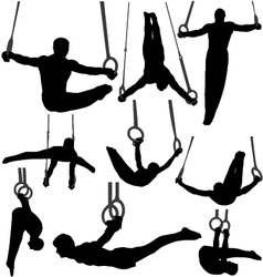 Gymnastics rings silhouettes vector