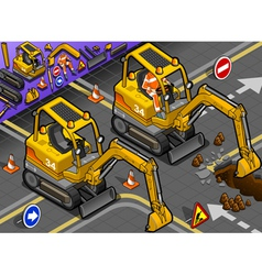 Isometric mini excavator with man at work in front vector