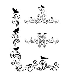 Vignette with birds vector