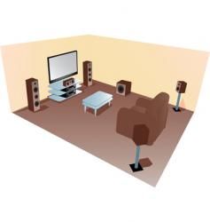 Home cinema set up diagram vector
