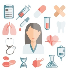 Doctor flat icons vector