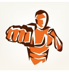 Stylized boxer silhouette boxing symbol vector