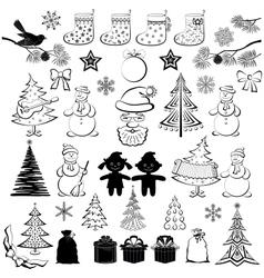 Christmas cartoon set black silhouettes vector