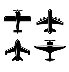 Different airplane icons set vector