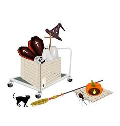 Pallet truck loading halloween items vector