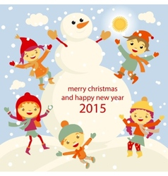 Winter fun snowman kids 2015 retro vector