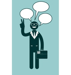 Icon black man with dialogue vector