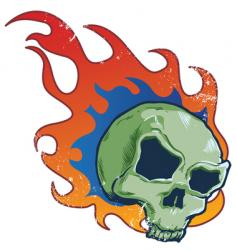Flaming skull tattoo style illustratio vector