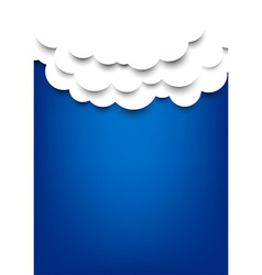 Paper clouds over blue background vector