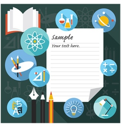 Blank paper frame with education icons vector