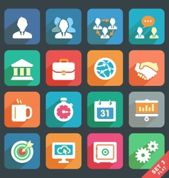 Office and business flat icons vector