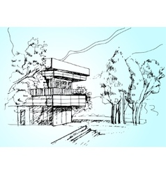 Sketch the architecture house vector
