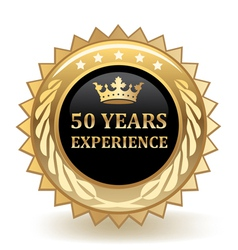 Fifty years experience badge vector