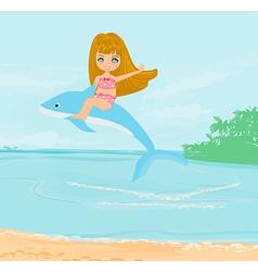 Cute girl is riding a dolphin vector