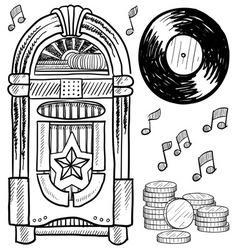 Doodle jukebox music vector