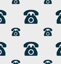 Retro telephone icon sign seamless pattern with vector