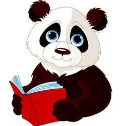 Panda reading a book vector