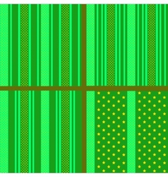 Green striped stars patterns vector