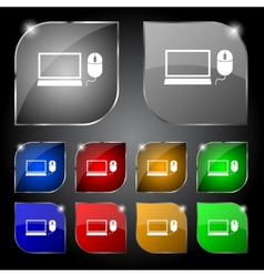 Computer widescreen monitor mouse sign icon set vector