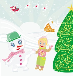 Santa claus sweet snowman and smiling little girl vector