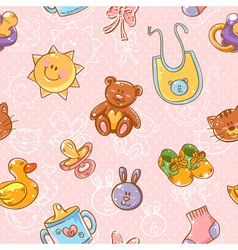 Baby toys cartoon set seamless pattern vector