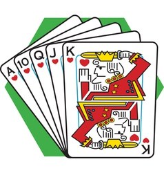 Straight flush card game vector
