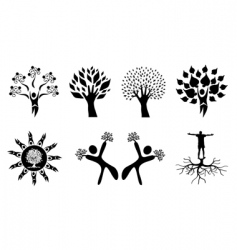 Set of abstract hand trees vector