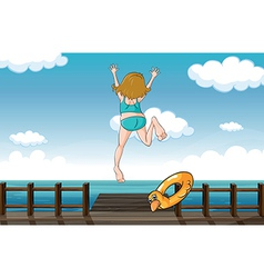A girl jumping for help vector