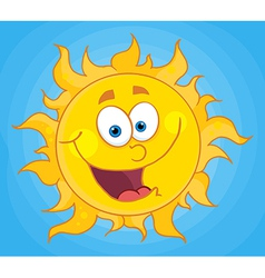 Happy sun cartoon character vector