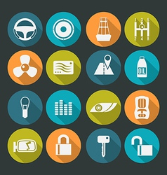 Auto accessories icons set colors plate vector