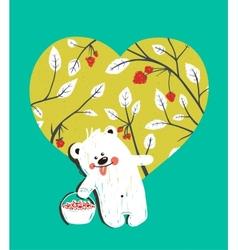 Cartoon baby bear with raspberries heart vector