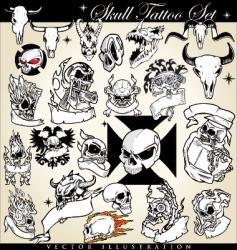 Skull tattoo set vector