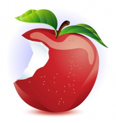 Red apple with bite vector
