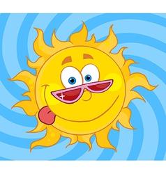Sun mascot cartoon character with shades vector