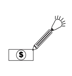 Pen money icon vector