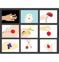 Set of human hands silhouettes vector