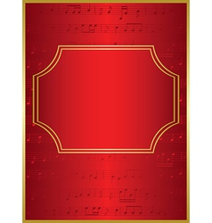 Red background and gold frame with musical notes vector