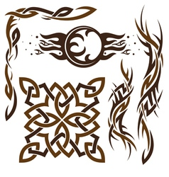 Set of gothic and celtic ornament for desig vector