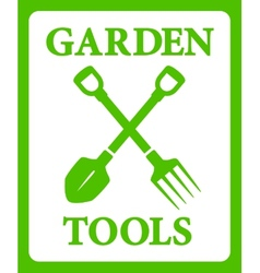 Green background with tools for gardening work vector